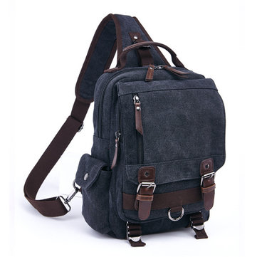 Men Women Canvas Chest Bag Travel Backpack School Bag