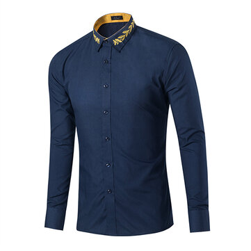 Mens Turn-down Collar Contrast Color Embroidery Long Sleeve Fashion Casual Shirt 8 Colors