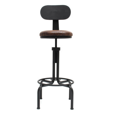 100cm Adjustable Retro Metal Leather Bar Stool Furniture Rotate Cafe Counter Chair Decorations