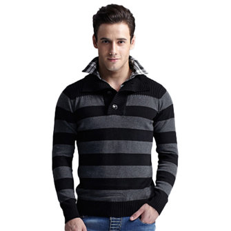 Mens Turn-down Collar Fashion Casual Slim Striped Knit Autumn Button Wool Sweater