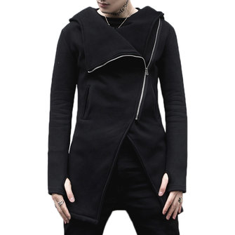 Asymmetrical Placket Cotton Slim Designer Hooded Jacket