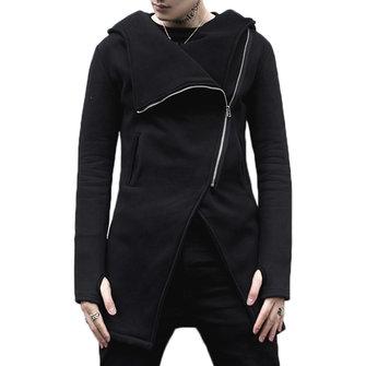 Asymmetrical Placket Cotton Slim Designer Hooded Jacket