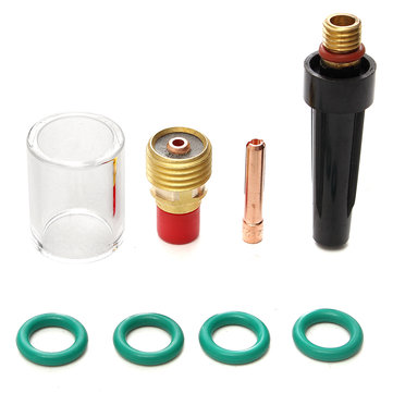 8pcs Welding Torch Stubby Gas Lens Glass Cup Kit For TIG WP-9/20/25 Series 5/64 Inch