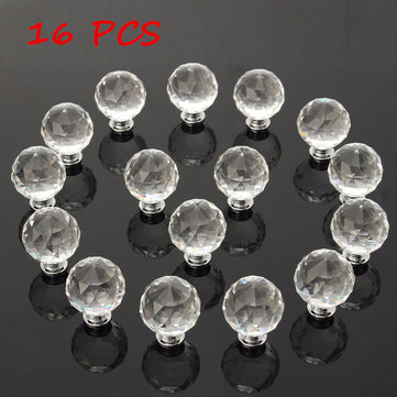 16Pcs 40MM Clear Crystal Glass Handle Knobs for Door Drawer Cabinet Furniture