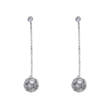 925 Sterling Silver Womens Earring Dazzling Zirconia Ball Drop Piercing Earrings for Women