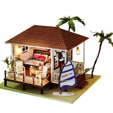 iiecreate K-005H Seaside House DIY Dollhouse Model With Furniture Music Cover Light Miniature Gift