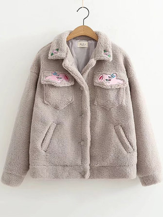 Women Casual Fleece Embroidered Patchwork Warm Winter Button Coats