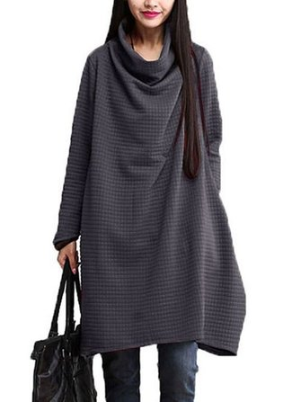 Women Vintage Loose Asymmetrical Long Sleeve Pocket Solid Dress