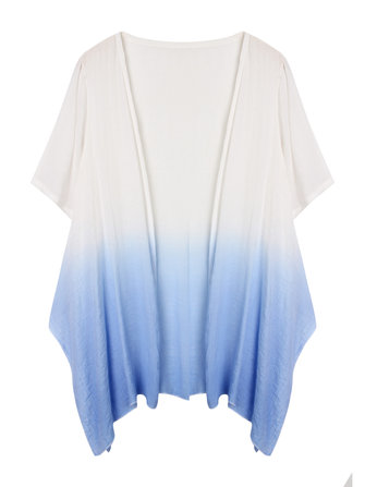 Elegant Women Summer Gradient Short Sleeve Irregular Linen Cardigans Tops