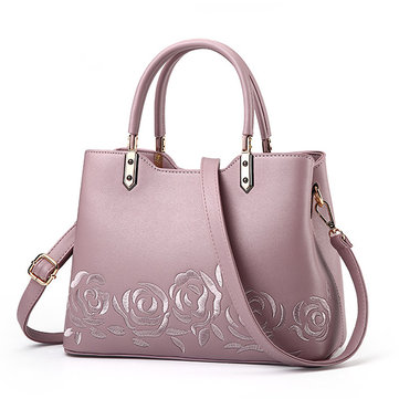 Women Quality PU Leather Embroidery Handbag Shoulder Bag