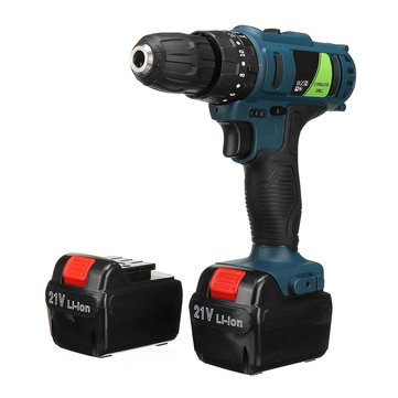 Adjustable 21V Rechargeable Cordless Power Impact Drill Electric Screwdriver with 2 Li-ion Battery