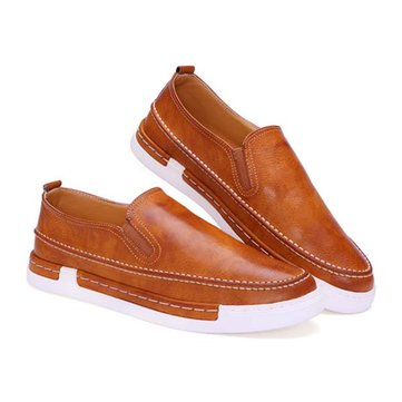 Men Fashion Shoes PU Round Toe Slip On Outdoor Sneakers Vintage Style
