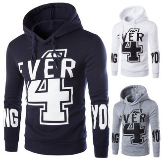 Mens Number Printing Hoodies Fashion Casual Sweatshirt Sport Pullover