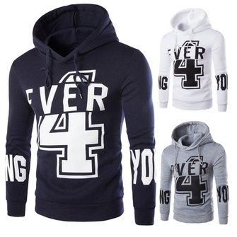 Mens Number Printing Hoodies Fashion Casual Sweatshirt Sport Pullover
