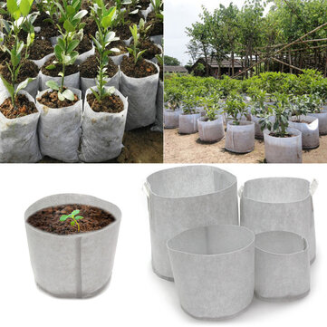 10Pcs Eco-Friendly Round Fabric Pot Planting Pouch Root Grow Aeration Container Seedling Bag Box