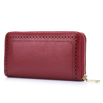 Women Genuine Leather Hollow Out Vintage Large Capacity Wallet Phone Bag Coin Purse