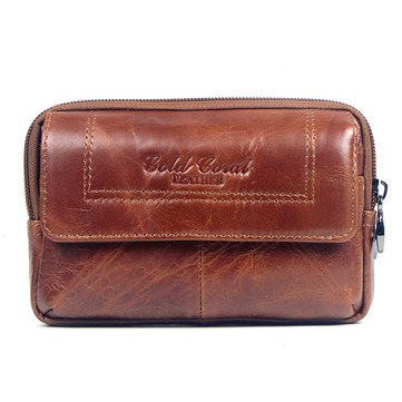 Men Genuine Leather Leisure Wallet Belt Waist Bag