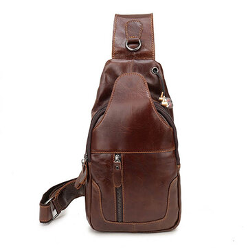 Ekphero® Men Genuine Leather Vintage Chest Bag Casual Crossbody Bag