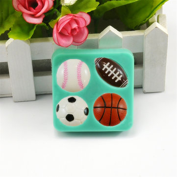 3D Silicone Football Basketball Fondant Mold Cake Sugar Chocolate Baking Tool Baking Mold