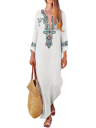 Women Cotton Loose Embroideried V-Neck Long Sleeve Dress