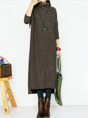 Casual Women Turtleneck Long Sleeve Pure Color Split Knitting Dresses