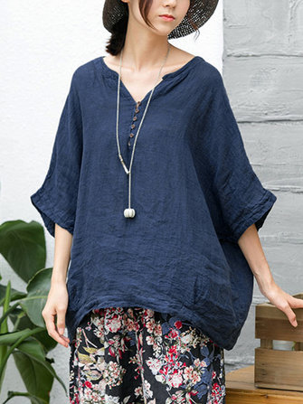 Vintage V-neck Half Sleeves Cotton Blouse