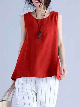 Women Sleeveless Cotton Solid Vest Tank Tops