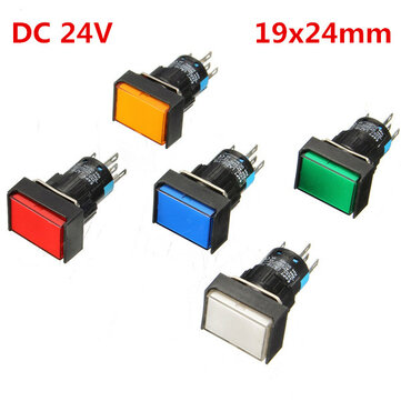 DC 24V Push Button Self-reset Momentary Switch LED Light