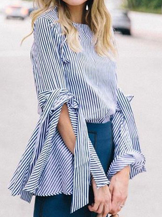 Women Elegant Stripe Crew Neck Flare Sleeve Blouse