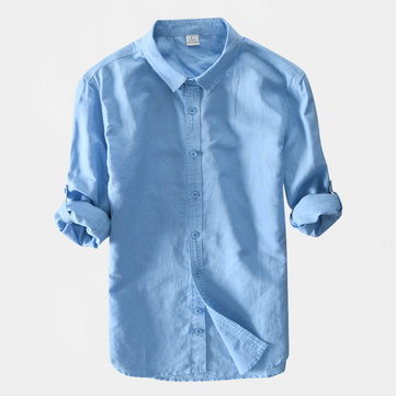 TWO-SIDED Mens Solid Color Busniess Casual Cotton Long Sleeve Shirts