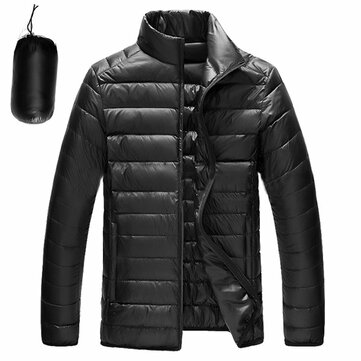 Mens Portable Duck Down Padded Jacket Light Solid Color Coat
