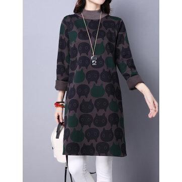 Cat Printing Turtleneck Long Sleeve Loose Thick Women Sweatshirt Dress