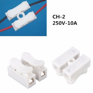 Quick Fix 380V 10A 2Way Reuseable 2P Spring Clamp Terminal Block No Screws Connector