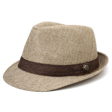 Men Oudoor Fashion British Straw Hat Linen Jazz Hat