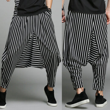 Mens Casual Loose Elastic Waist Pockets Harem Pants