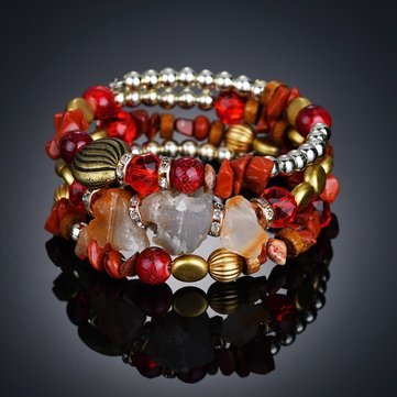 Bohemian Crushed Stone Bracelet Multi Layer Beaded Bracelet Mix Color Crystal Women Bracelet