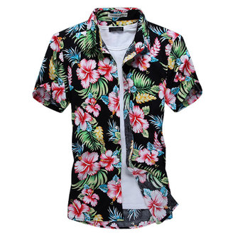 Zomer Man Fashion Flower Shirt Casual Slim Fit Korte Mouwen Shirts