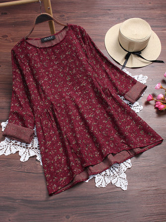 Retro Printing Long Sleeve Blouse
