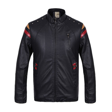 Mens PU Leather Motorcycle Fleece Windproof Jacket Printing Chest Zipper Stand Collar Coat