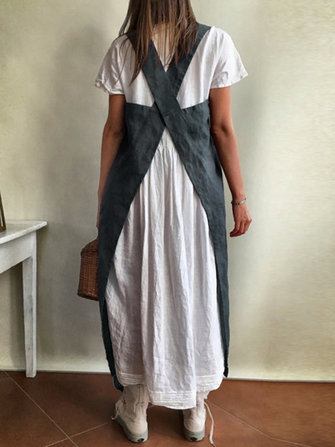 Women Japanese Style Kitchen Brief Solid Color Cotton Dress Linen Pinafore Aprons
