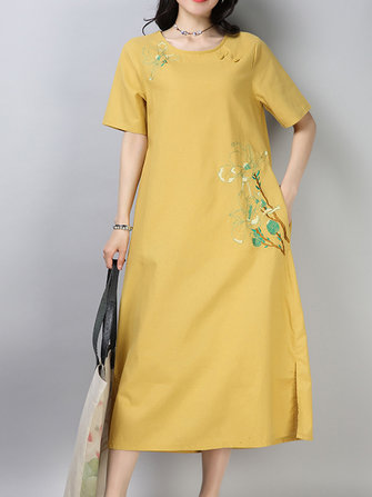 Vintage Women Cotton Embroidered Short Sleeve O-Neck Dress with Pocket