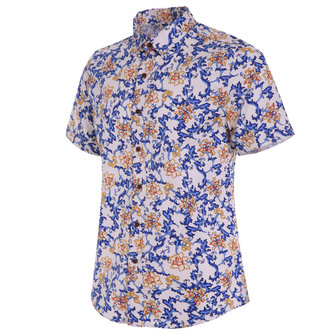 Mens Hawaiian Style Floral Printing Slim Fit Breathable Short Sleeve Casual Beach Shirts