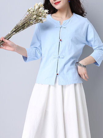 Women Vintage Pure Color Button Tops 3/4 Sleeve Cotton Blouse
