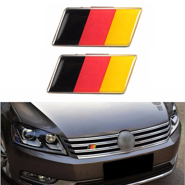 2Pcs Aluminium German Germany Flag Badge Grille Emblem Decal Universal Decoration