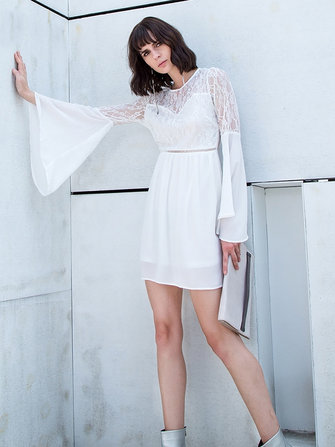 Sexy Women Chiffon Lace Stitching Bell Sleeve Dresses