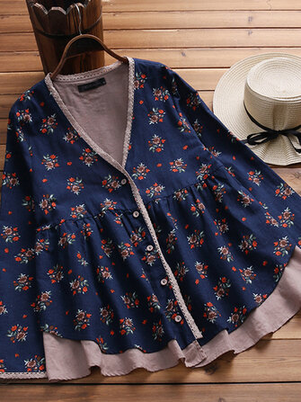 Retro Women Buttons Down Floral Patchwork Asymmetrical Shirts
