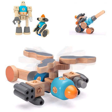 Umu Wooden Block Toys Kit Puzzle Jigsaw Buckle Clasp Multi Combination Helicopter Airplane Robot