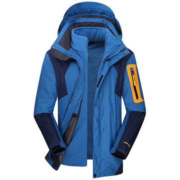Mens 2 in 1 Water Repellent Breathable Coat Outdoor Detachable Hooded Hiking Jacket