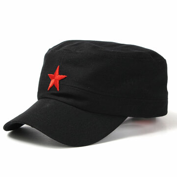 Unisex Red Star Cotton Army Cadet Military Cap Adjustable Durable Flat Top Hats