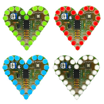 Heart Shaped Light Kit DIY Breathing Light Parts Red Green Blue White Color Optional